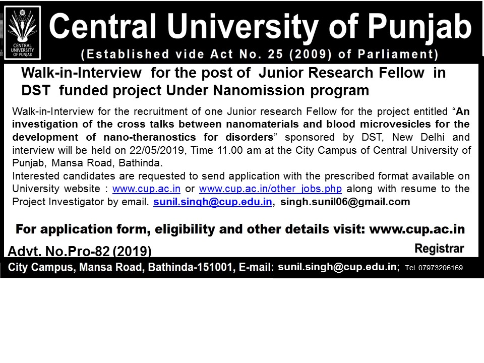 P-91(2019) : Walk-in interview for the post of Junior Research Fellow
